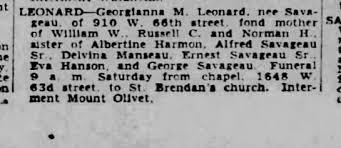 Death announcement for Georgianna Savageau Leonard, Chicago Trib, 3/20/1947  - Newspapers.com