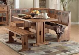 rustic kitchen table nook set with bench and plaid rug design