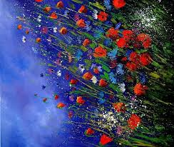 field flowers 87 painting by pol ledent