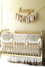 baby girl crib bedding set farmhouse style nursery pink and white lace skirt monique lhuillier ivory