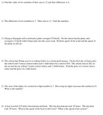 word problems systems of equations worksheet