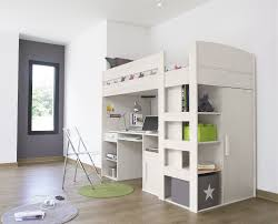 Loft Bed Bedroom White Wooden Loft Bed With Storage Ladder And Bool In Wooden Twin