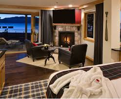 every room at the landing boutique hotel in south lake tahoe california includes a fireplace private balcony and marble spa style bath