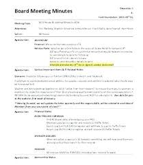 How To Write Meeting Minutes Format Of A Meeting Minutes Sample Template For Board