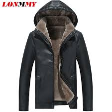 2019 lonmmy 3xl leather jacket men pu suede hooded black mens leather coat windbreaker plus velvet thick warm outerwear 2017 winter from blueberry16