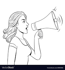 woman with megaphone coloring book vector image