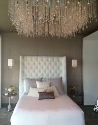 elegant furniture and lighting. Elegant Crystal High Ceiling Lighting Design In Modern Bedroom With White Tufted Beadboard Idea Furniture And R