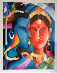 canvas painting of lord shiva and parvati