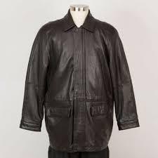 details about men s leather car coat jacket l large black insulated brandini le collezioni