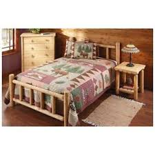 Details about Rustic Natural Cedar Log Style Queen Size Bed Frame Cabin Cottage or Lodge Style