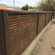 corrugated fence custom made corrugated metal wood fence privacy patina rust or unpainted look housing real