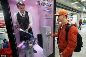 Vending Machine Costume Cool Human Vending Machines' Appear In Chinese Subway Station Daily