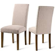 cloth dining chairs. Merax Set Of 2 Fabric Dining Chairs With Copper Nails And Solid Wood Legs (Beige Cloth F