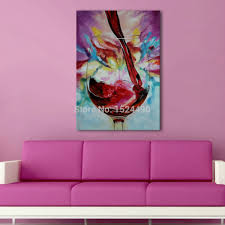 modern wall painting hand painted abstract red wine glass oil painting on canvas wall art