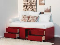 Bedroom White Painted Wooden Full Size Bed Frame With Drawers