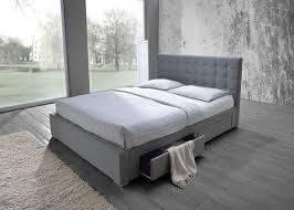fabric bed frame queen queen size bed mattress gray theme bedroom wooden  floor huge window carpet