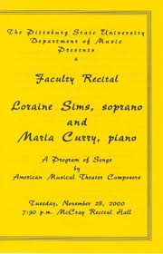 "Faculty Recital Loraine Sims, soprano and Maria Curry, piano"" by Pittsburg  State University"