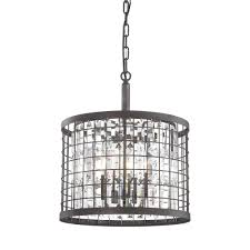 titan lighting nadina 4 light silverdust iron short round chandelier with metal and crystal shade