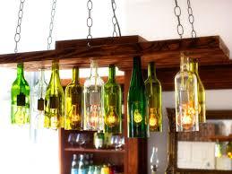 wine bottles turned into chandelier lighting