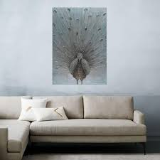 peacock hand painted wood wall art decor on hand painted wood wall art with 47 24 in x 23 62 in peacock hand painted wood wall art decor c224