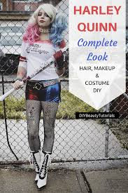 harley quinn look hair makeup costume diy