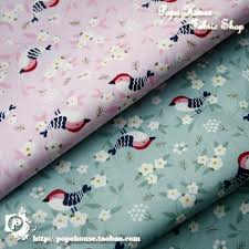 <b>Japanese Style and Wind</b> Cherry Blossom Thrush Bird 2 Color Twill ...