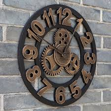 45cm vintage european wheel gear wall clocks retro decorative clock home bar wall decor