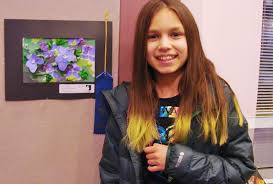 hattie edinger grade 6 of columbus gifted academy for her 3d collage enled purple patch that is a delightful explosion of color with violet blossoms