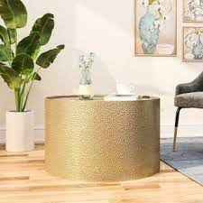 Vasagle round side table, tempered glass end table with golden metal frame, small coffee table, bedside table, living room, balcony, robust and stable, decorative, gold ulgt20g. Drum Gold Coffee Tables You Ll Love In 2021 Wayfair