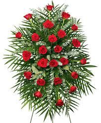 red roses standing spray of funeral flowers in houston tx mary s little of