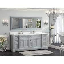 84 Inch Gray Finish Double Sink Bathroom Vanity Cabinet With Mirror Luxury Bathroom Sinks Double Sink Bathroom Vanity Bathroom Inspiration Modern
