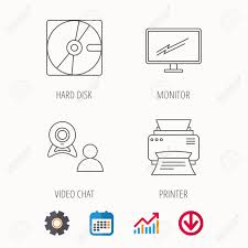 Monitor Printer And Video Chat Icons Hard Disk Linear Sign