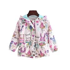 cute baby girl causal tench coat fashon cartoon graffiti hooded jacket coat for 1 6years girls kids children outerwear clothes junior coats winter coats for