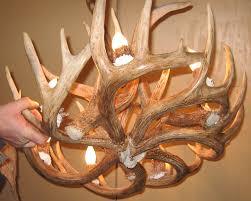chic round whitetail deer antler chandelier with lights fixture for interior design