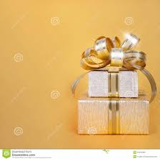 Beautiful Gift Box Design Beautiful Gift Box In Gold Wrapping Paper Stock Photo