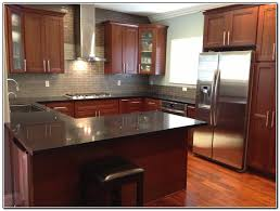 Cherry Cabinets In Kitchen Awesome Charcoal Painted Kitchen Cabinets With White Wall Kitchen