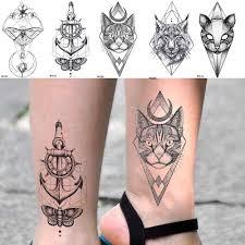 Ioridyo черная луна кошка якорь временная татуировка геометрическая женская рука