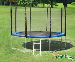 pvc padding and includes a full external safety enclosure this trampoline has a high upper weight limit of 150kgs it sits 88cm from the ground
