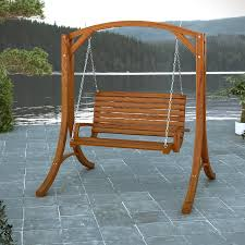 corliving wood canyon cinnamon brown porch swing