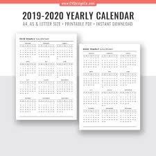 2019 Yearly Calendar And 2020 Yearly Calendar 2019 2020 Yearly Calendar Digital Printable Planner Inserts Filofax A5 A4 Letter Size