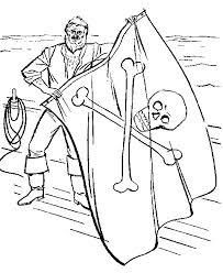 Piraat Met Piratenvlag Met Doodshoofd Kleurplaat Jouwkleurplaten
