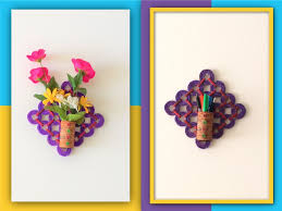 Flower Vase With Paper Diy 2 In 1 Flower Vase Pen Stand Recycled Craft With Newspapers