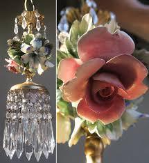 2 porcelain chandelier swag lamp capodimonte rose flowers vintage brass crystal