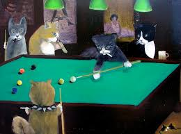 cats painting cats playing pool by gail eisenfeld