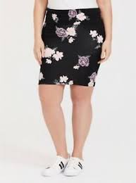 Details About Torrid Womens Black W Pink Flowers Floral Fold Over Pencil Skirt Plus Size 4 26