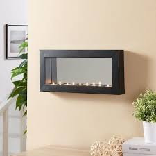 mirror effect furniture. Pine Canopy Stanislaus Horizontal Mirror Tealight Candle Sconce With Metal Frame - Black Effect Furniture