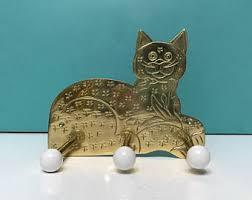Cat Coat Rack Brass wall hook cat Etsy 24