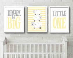 Yellow Grey Nursery Print Dream Big Little One Sheep Prints sheep design  night time prints gender