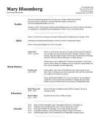 skills resume template - Traditional Resume Sample
