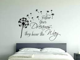 wall decal stickers es inspirational wall sticker e follow your dreams with dandelion blowing in wind